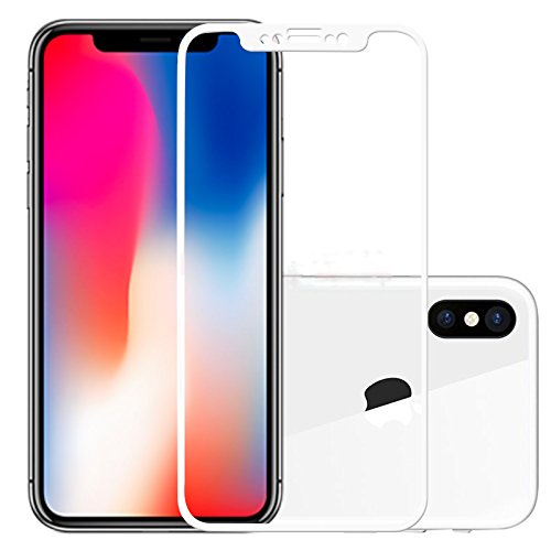 iPhone X Screen Protector, 9H Hardness 3D Touch Curved Edge Tempered Glass Screen Protector for iPhone X - Case Friendly, Easy Install, Bubble free, Anti-Scratch, Accurate Touch-White (White Protector Case)