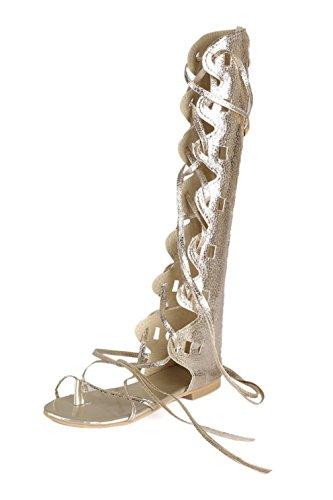 Plus Golden Été Plates Bottes Sandalia Plage Des Chaussures Gladiateur Haut Plates La Femmes Taille Sandales Genou 1zSqxf
