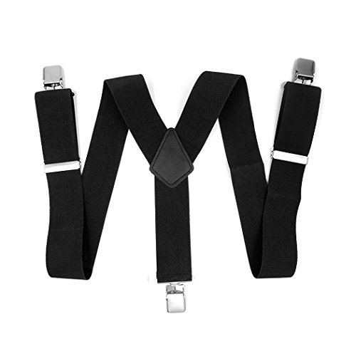 CHANGPING Mens Suspenders Adjustable Y-Back Elastic Straps with Strong Clips Black from CHANGPING