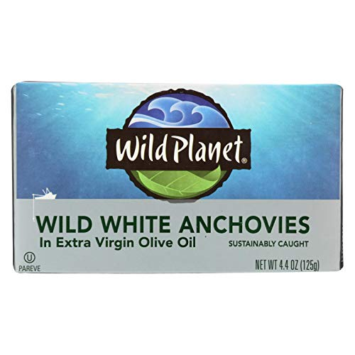 Wild Planet White Anchovies in Extra Virgin Olive Oil, 4.375 Ounce -- 12 per case. (White Anchovies)