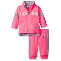 adidas Baby Girls' Zip Jacket and Pant Set, Ultra Pop, 3 Months