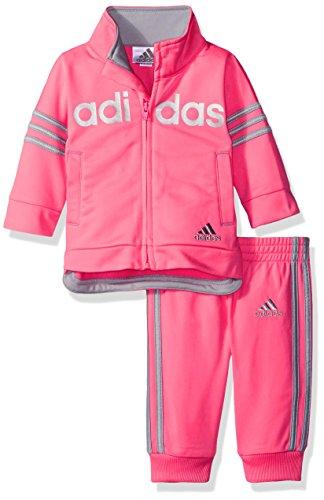adidas Baby Girls' Zip Jacket and Pant Set, Ultra Pop Adidas, 12 Months (Adidas Baby Girl Infant)
