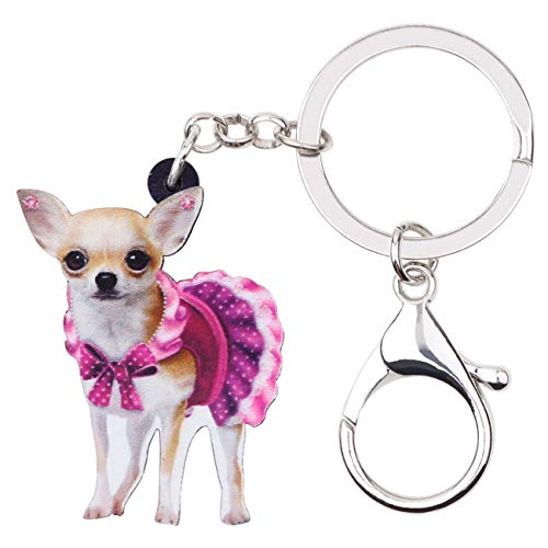WEVENI Acrylic Cute Pink Dress Chihuahua Dog Key Chains Rings Animal Jewelry For Women Girl Handbag Car Charms Keychain (Multicoloured) ()