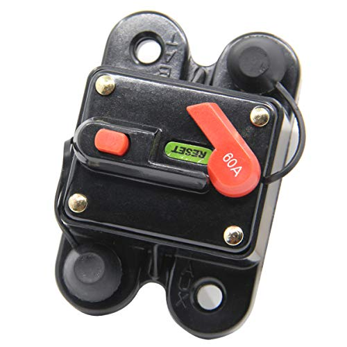 ZOOKOTO Circuit Breaker 60A, 60A Fuse holder Trolling Motor Auto Car Marine Boat Bike Stereo Audio Inline Fuse Inverter with Manual Reset 12V-24V DC