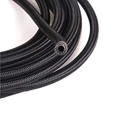 yjracing AN6 20Ft Nylon Fuel Line + Push Lock Swivel Fitting Hose End Adaptor Kit(Black): Automotive