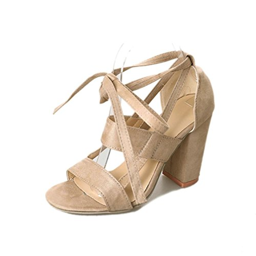 Eletty Classic Women Buckle Strap Ankle High Heels Above 8cm Sandals Square Heel Solid Sandals 8cm For Girls B0794YMKDY Shoes 9e8223