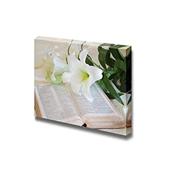 Canvas Prints Wall Art - Still Life Easter Lily and Bible Floral/Flower Art | Modern Wall Decor/Home Decoration Stretched Gallery Canvas Wrap Giclee Print & Ready to Hang - 12