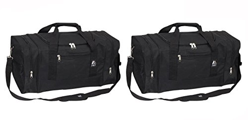 Everest Luggage Sport Gear Bag - Set of 2 Large, Black Bags. 25 Inches Long By 12 Inches Tall By 12 Inches Wide.