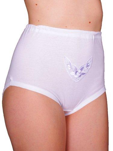 3er Pack Damen Taillenslip ohne Seitennähte mit BW Spitze (Schlüpfer, Unterhose) weiß Chlorfrei (145/3)