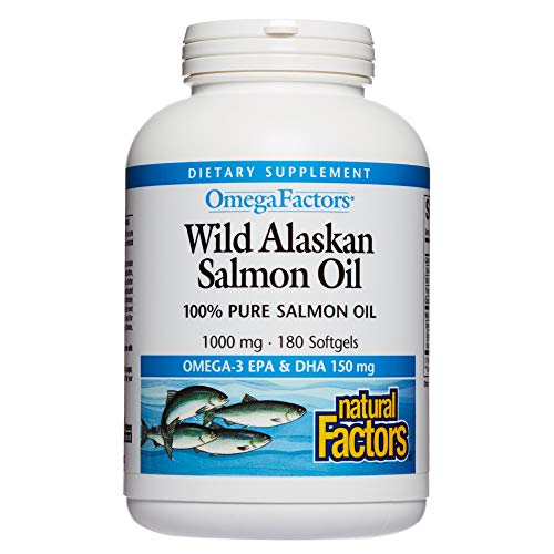 (Natural Factors - Complete Omega Wild Alaskan Salmon Oil, Supports Brain Function and Heart Health while Helping to Maintain Already Healthy Cholesterol Levels with Omega-3 EPA and DHA, 180 Softgels)