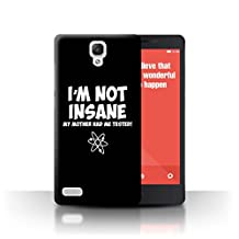 STUFF4 Phone Case / Cover for Xiaomi Redmi Note 4G / I'm Not Insane Design / Funny Nerdy Sitcom TV Collection