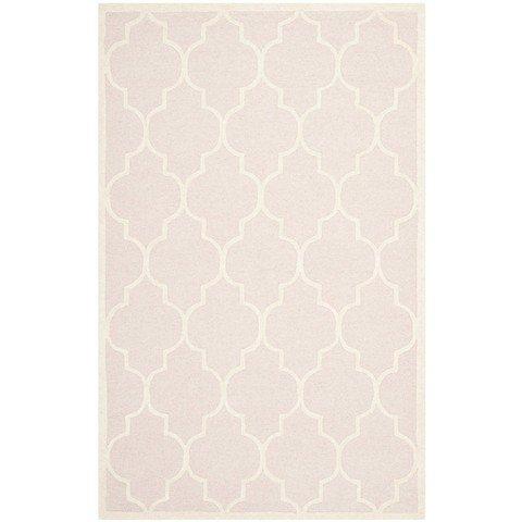 Safavieh Cambridge Collection CAM134M Handmade Moroccan Geometric Light Pink and Ivory Premium Wool Area Rug (8′ x 10′)