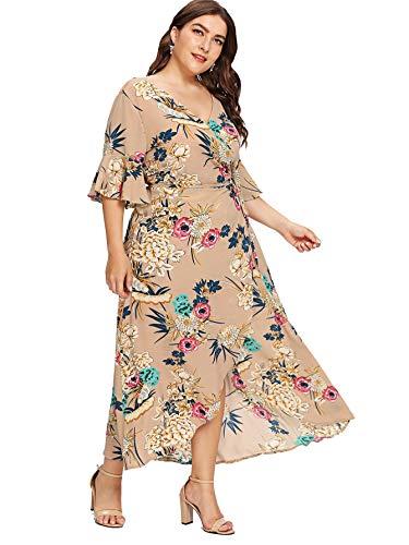 Milumia Women Plus Size Boho Floral 3 4 Sleeves Maxi Party Dress Brown ()