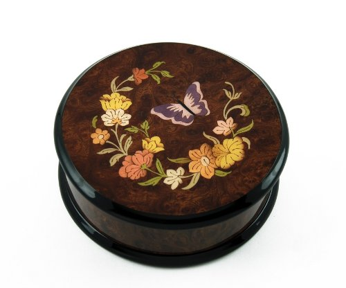30 NOTE Gorgeous Handcrafted Round Butterfly and Floral Music Jewelry Box - Love is Blue by MusicBoxAttic