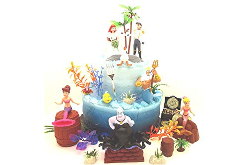 Cake Toppers Under The Sea Little Mermaid Birthday Set Featuring Ariel and Friends Figures with Decorative Themed Accessories