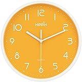 HIPPIH 10 Inch Silent Wall Clock – Non-Ticking Universal Indoor Decorative Clocks Office/Kitchen / Bedroom/Living Room,Orange