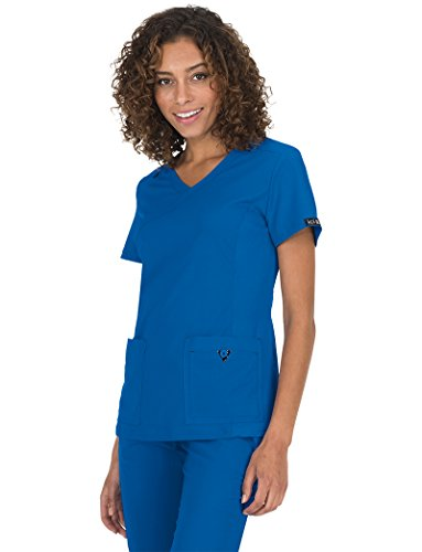 Contrast Trim Mock Wrap Top - KOI Basics Women's Katie Mock Wrap Solid Scrub Top X-Small Royal