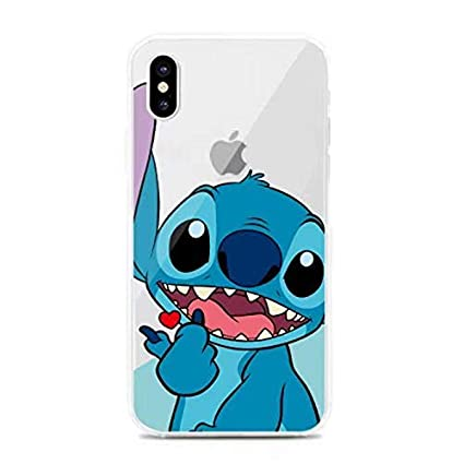 Ultra Slim Soft TPU Transparent Blue Stitch Case for iPhone XR 6.1 Inch 2018 Shockproof Smooth Lilo Walt Disney Cartoon Cute Chic Lovely Clear Fun ...