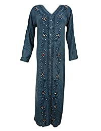 Womens Maxi Dress Blue Stonewashed Rayon Embroidered Bohemian Evening Long Dresses