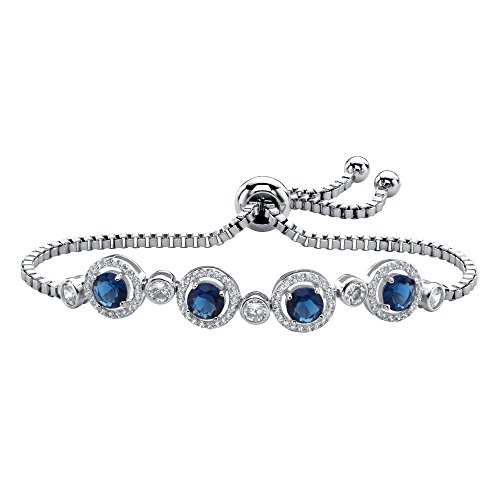 Silvertone Round Simulated Blue Sapphire and Round Cubic Zirconia, Slider Bolo Strand Bracelet (8mm), 9 inch Adjustable