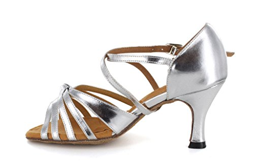 TDA Womens Ribbon Knot Satin Salsa Tango Ballroom Latin Strappy Dance Evening Party Dress Pumps Silver 1e73Un