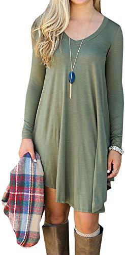 LunaJany Women's Chic Long Sleeve Relaxed Pullover Swing Tee Shirt Dress