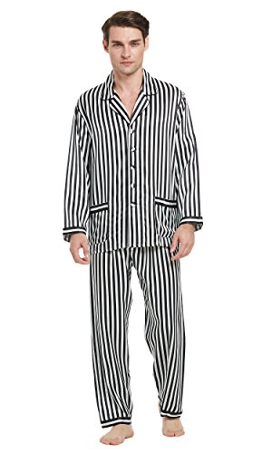 LilySilk Men Pajamas Set With Black and White Stripes 100 Percent Mulberry 22mm Classic Soft Luxury Long Black and White Stripes XS/34 by LilySilk