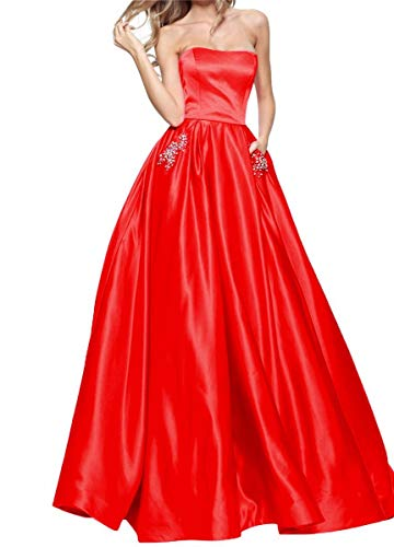 (Womens Strapless Beading Prom Dresses 2019 Long Formal Evening Ball Gowns with Pockets Size 4 Red)