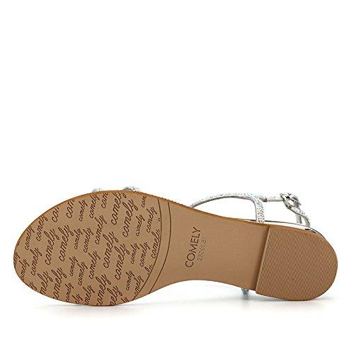 puntos tela con de zapatos del tela TMKOO mujeres sandalias de de verano casual Plata zapatillas de del planos diamantes para amp; párrafo densa imitación ER1EqAPXw