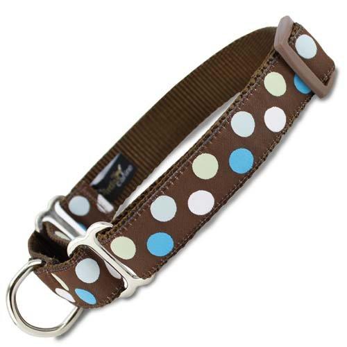 Polka Dot Martingale Dog Collar in Blue