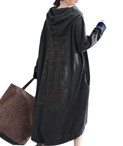 YESNO Q14 Women Long Casual Plus Size Sweatshirts Jacket Fleece Lined Pullover Hoodies Ethnic Floral Long Sleeve High-Low Drawstring Hemline/Pockets