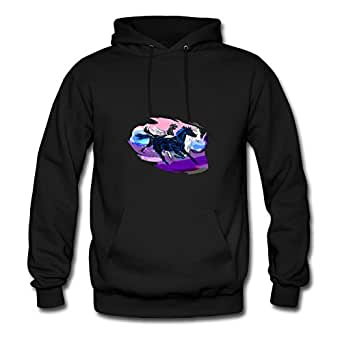 X-large Black Regular Puzzle Overgrown Horses In The Gallop Hoodies By Mabelbennett - Women