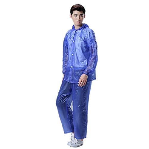 Yunhigh Men Raincoat Waterproof Hood Outdoor Windproof Hooded Rain Jacket Clear Packable Lightweight Long Reusable Poncho Rainwear Travel Fishing Hiking Cycling Biking - Blue