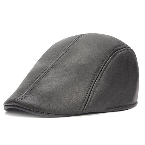 King Star Men Women PU Leather Newsboy Cap Flat Cap Driving Cabby Gatsby Hat Black