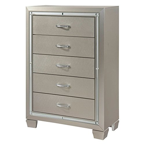 Picket House Furnishings Glamour Youth 5 Drawer Chest in Champagne