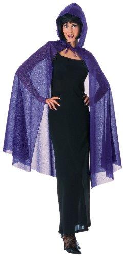 Hooded Glitter Cape Costume Accessory (Adult Purple Hooded Robe Costume)