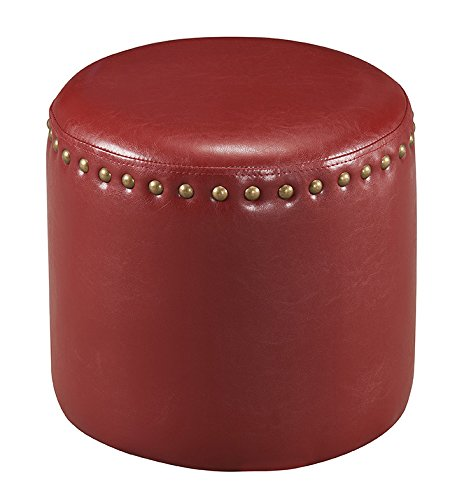 Kings Brand Furniture Nailhead Trim Upholstered Stool Ottoman (Red) Review