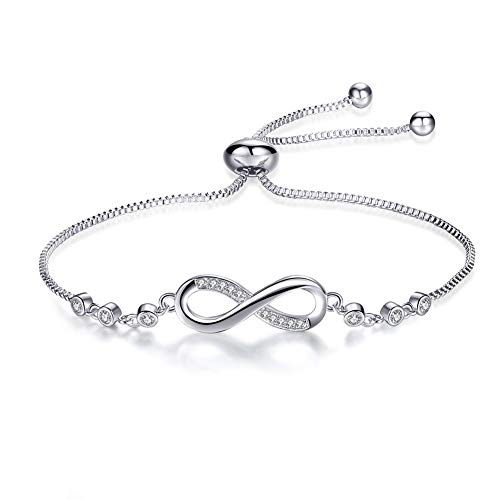 (Qamra Couples Infinity Bracelet Anklet Expandable Bracelets for Women with Cubic Zirconia Endless Love Symbol Adjustable Chain)