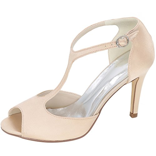 LOSLANDIFEN Womens T-Strap Pumps Satin Buckle Stiletto High Heels Wedding Shoes Champagne wxZL0