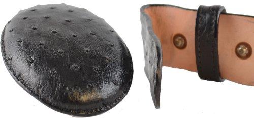 Cintura In Pelle Di Struzzo Nera Originale