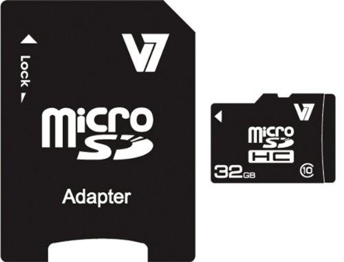 V7 32GB microSDHC Class 10 memoria flash Clase 10 - Tarjeta de memoria (32 GB, MicroSDHC, Clase 10, Negro)