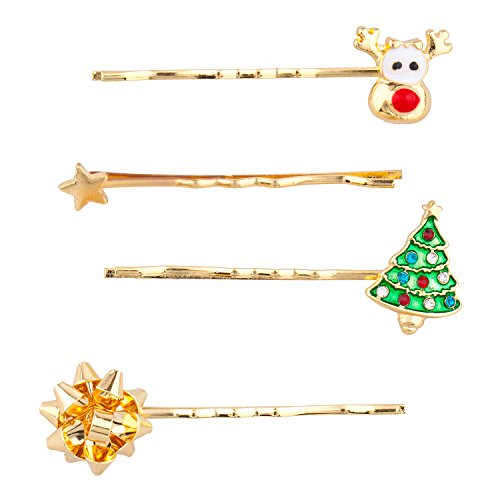 Tone Reindeer Gold (Lux Accessories GoldTone Christmas Holiday Reindeer Hair Clip Bobby Pin Set 4PC)