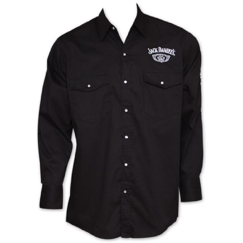 Jack Daniels Men's Daniel's Logo Rodeo Cowboy Shirt Black X-Large