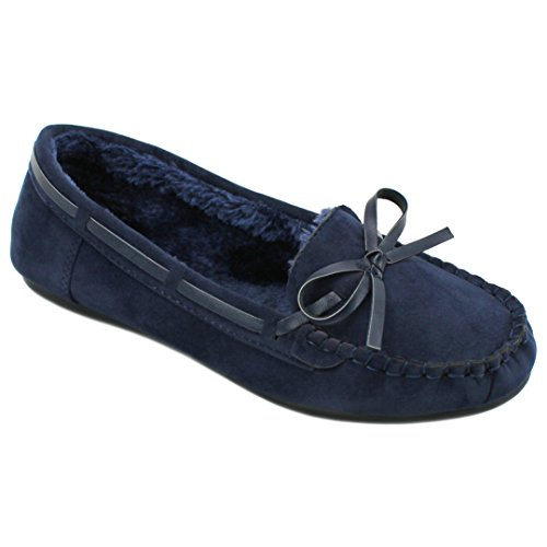 Navy on Lined Moccasins Solemate Fur Suede Faux Slip Flat Women's Loafer w77vpP