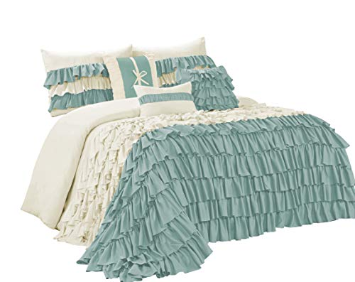7 Piece BRISE Double Color Ruffled Comforter Set-Queen King Cal.King Size (Cal.King, Ivory/Blue) by BEDnLINENS