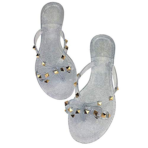Women Stud Bow Flip-Flops Sandals Beach Flat Rivets Rain Jelly Shoes (9.5 B(M) US, A-White)