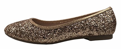 Girls Sequence Coverered Dress Ballet Flats Slip On Karra-29K, Rose Gold, 1 by Forever Collection (Image #1)