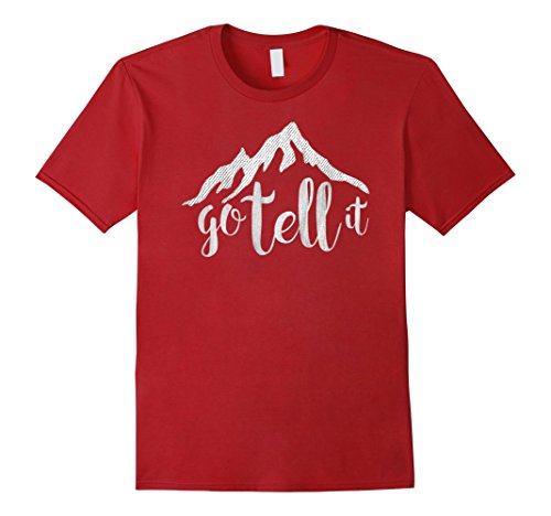 Mens Go Tell It This Christmas T-Shirt for Christians Medium Cranberry