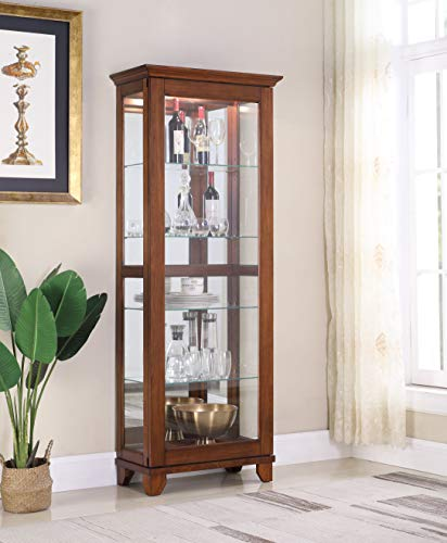 (5 Adjustable Shelf, Sliding Door Curio Cabinet Including Display Light- Walnut)