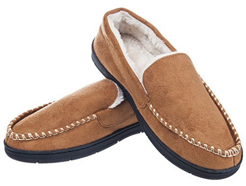 Festooning Men's Plush-Lined Anti-Slip Microsuede Moccasin Slippers Shoes With Rubber Sole Indoor/Outdoor Light Brown XL